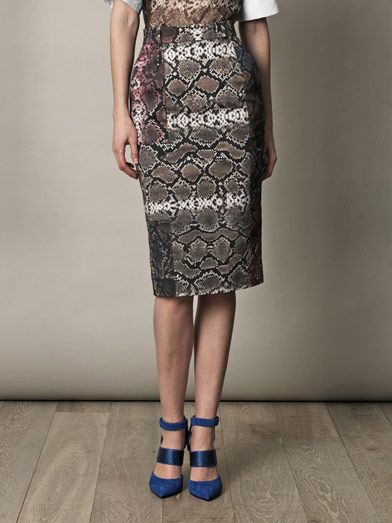 Preen snakeskin pencil skirt at designer boutique Matchesfashion.com
