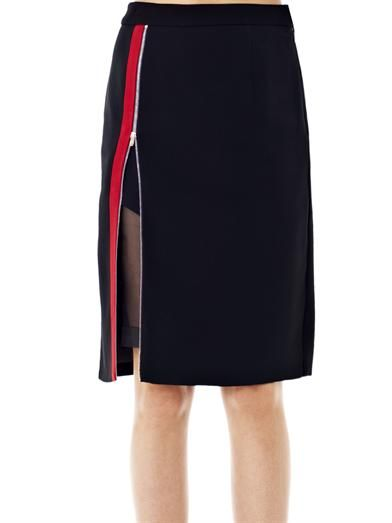 Preen Perry silk and crepe pencil skirt
