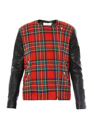 Bo leather and tartan biker jacket
