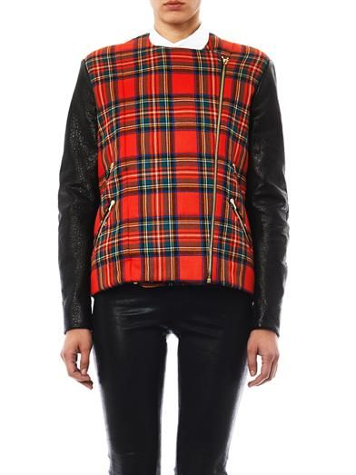 Preen by Thornton Bregazzi Bo leather and tartan biker jacket