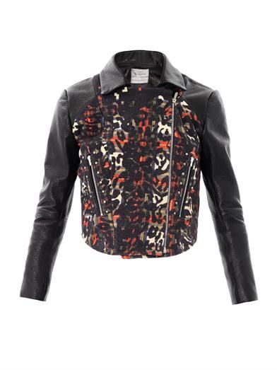 Preen Lyric wool-panel leather jacket