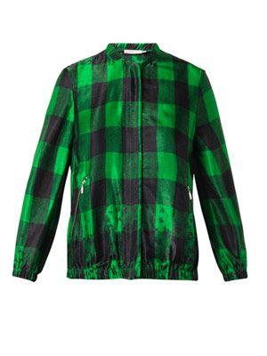 Ellis embroidered checked bomber jacket