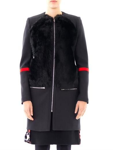 Preen Harry fur panel coat