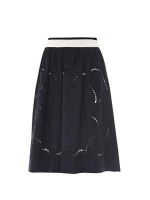 Talon embroidered crepe skirt