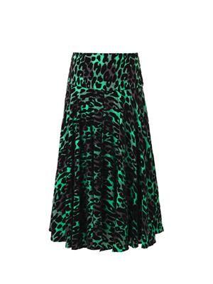 Alba leopard flocked skirt