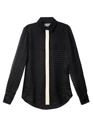 Devore stripe panel shirt