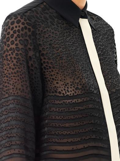 Preen by Thornton Bregazzi Devore stripe panel shirt