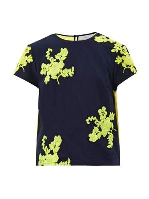 Twilight citrus-flower embroidered top