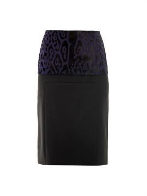Leopard-print peplum pencil skirt