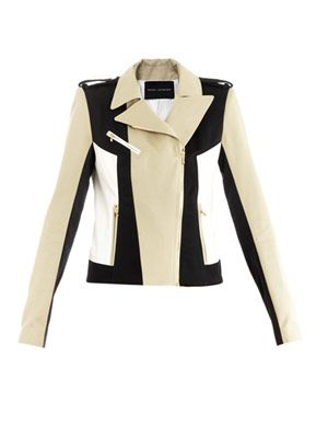 Cotton contrast panel biker jacket