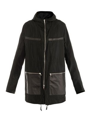Taffeta and leather parka
