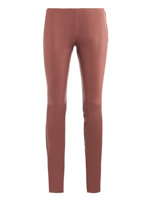 Bicolour leather trousers
