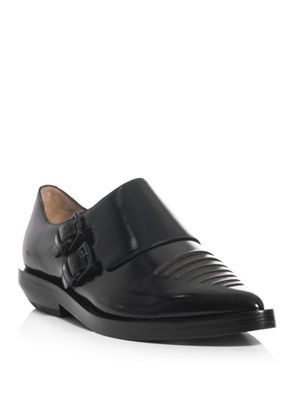 Monk strap leather shoes