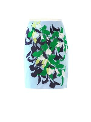 Lea lily embroidered pencil skirt