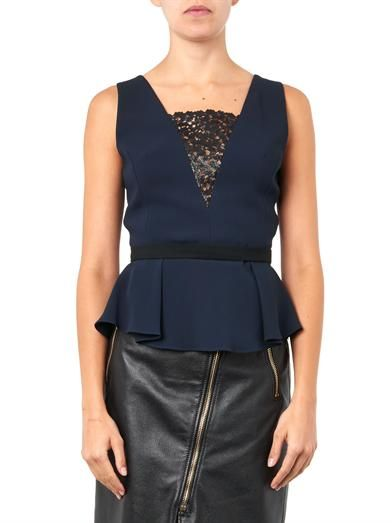 Peter Pilotto Laser-cut lace-insert crepe top