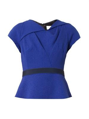 Twist-front wool-crepe top