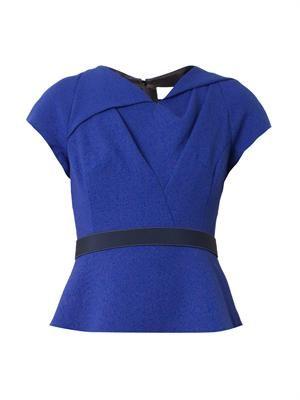 Twist-front wool-crepe top