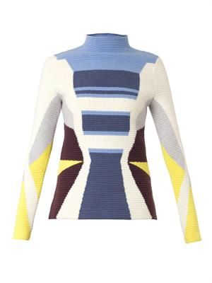 Graphic-knit felted wool-blend sweater