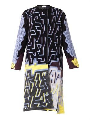 Graphic intarsia-knit cardigan