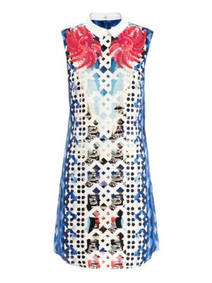Flower embellished print dress