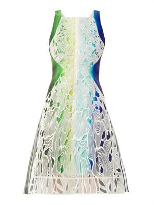 Solar-print embroidered lace dress