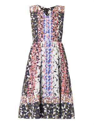 Geo-print waffle-silk dress
