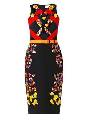 Lera embellished wool-crepe dress