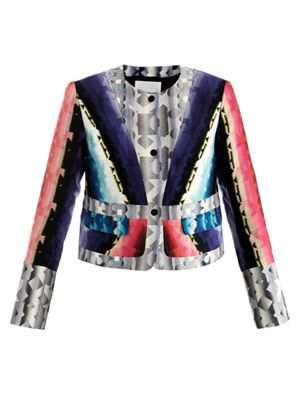 Damask-print cropped box jacket