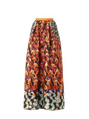 Printed waffle-textured maxi skirt
