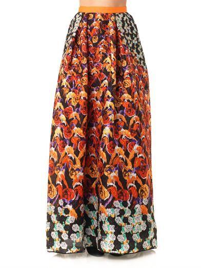 Peter Pilotto Freya printed waffle-textured maxi skirt