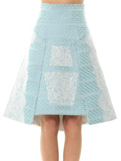 Peter Pilotto Orchid-embroidered A-line skirt