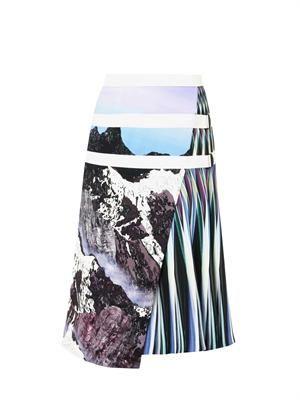 Alps-print A-line skirt