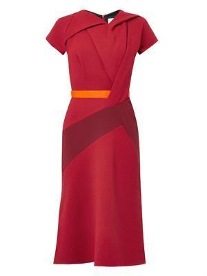 Twist-front wool-crepe dress