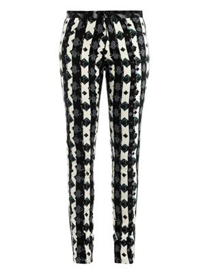 Eli monochrome dotty-print trousers