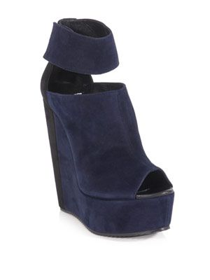 Bi-colour wedge sandals