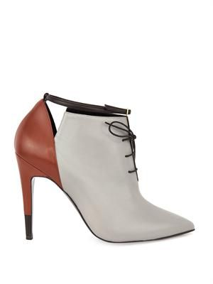 Tri-colour leather ankle boots