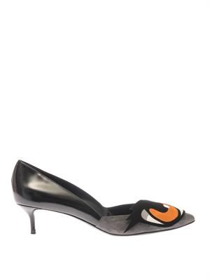 Bi-colour leather and suede mid-heel pumps