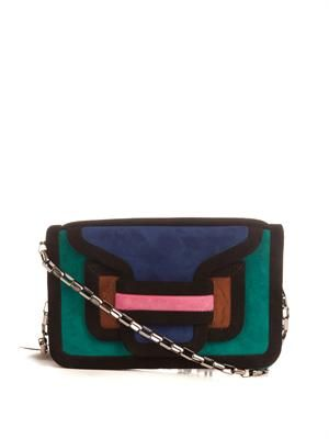 Suede colour-block clutch