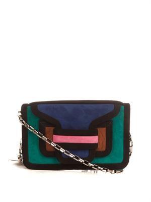 Suede colour-block clutch