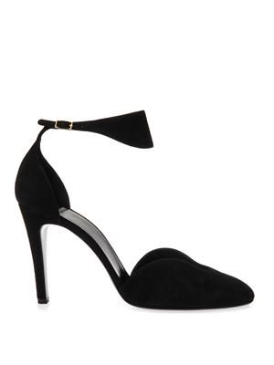 Cut-out suede pumps