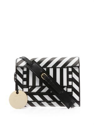 Striped leather cross-body bag