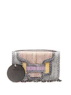 Mini snakeskin shoulder bag