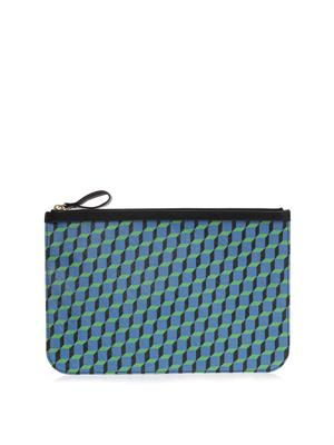Cube-print leather pouch