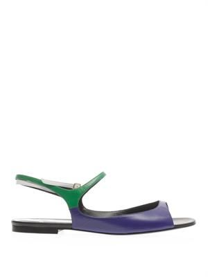 Tri-colour leather sandals