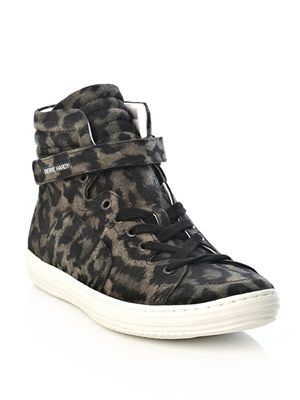 Leopard print high-top trainers