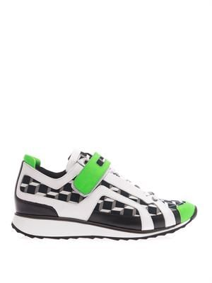 Cube-print and leather low-top trainers