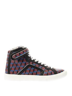Coated-canvas high-top trainers