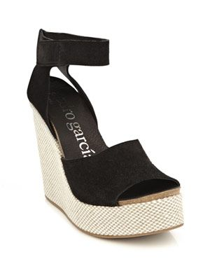 Suede contrast wedge shoes