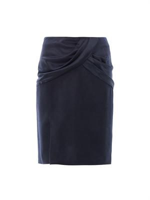 Draped silk & wool skirt