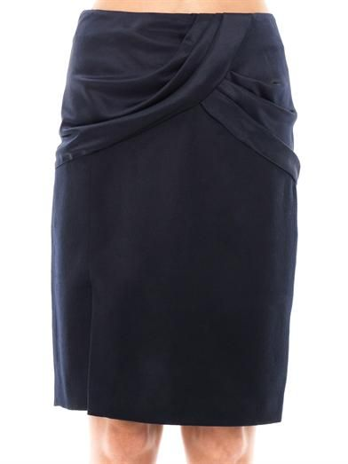 Prabal Gurung Draped silk & wool skirt